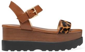 MICHAEL Michael Kors Marlon Leopard-Print Calf Hair & Leather Flatform Sandals