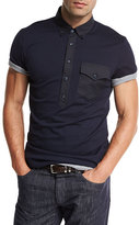 Brunello Cucinelli Jersey Polo w/Contrast Pocket & Placket, Navy