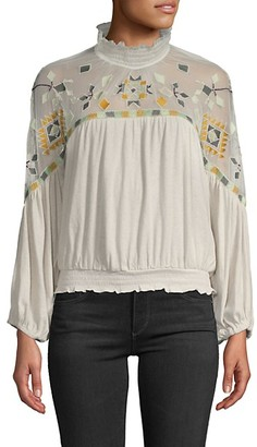 Free People Embroidered Mesh Yoke Cotton Linen-Blend Top
