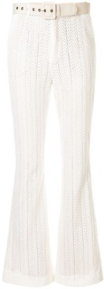 We Are Kindred Marbella crochet knit flared trousers
