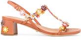 Car Shoe floral applique sandals - women - Leather - 37.5