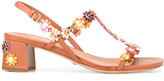 Car Shoe floral applique sandals - women - Leather - 40