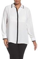 Foxcroft Plus Size Women's Ribbon Trim Pintuck Pleat Tunic Blouse