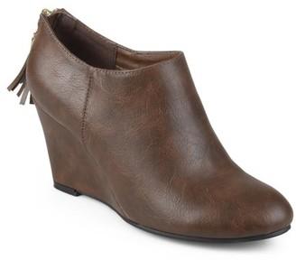 Brinley Co. Women's Faux Leather Tassel Wedge Booties