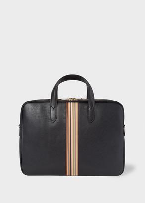 Paul Smith Men's Black Signature Stripe Leather Business Folio