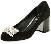 Rene Caovilla Pearly-Beaded Suede Block-Heel Pump, Black Pattern