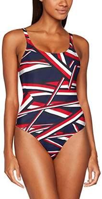 Tommy Hilfiger Women's Iconic HIGH Cut Bathing Suit Swimsuit, (Global STP Blue), (Size:38)