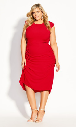City Chic Side Ruch Dress - red