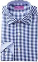 Lorenzo Uomo Navy Gingham Check Trim Fit Dress Shirt