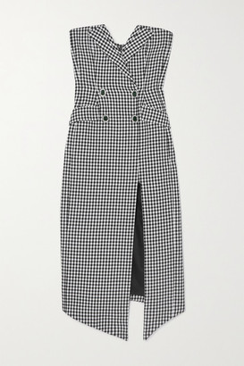 David Koma Embellished Strapless Houndstooth Cotton And Wool-blend Midi Dress - Black