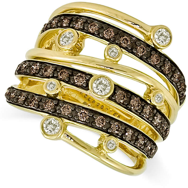 LeVian Le Vian Chocolate and White Diamond Multi-Row Ring (3/4 ct. t.w.) in 14k Gold