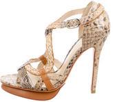 Alexandre Birman Snakeskin Multistrap Sandals