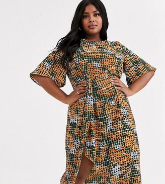Glamorous Curve midi dress with wrap skirt in geo print
