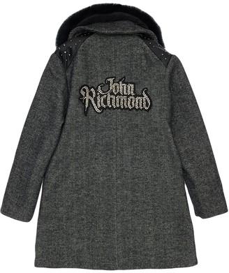 John Richmond Wool Blend Coat W/ Faux Fur