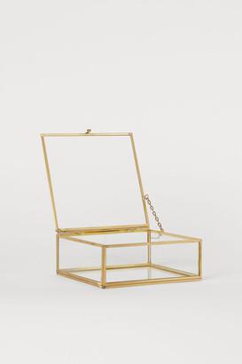 H&M Square Clear Glass Box - Gold