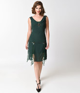 Unique Vintage Emerald Green Hemingway Flapper Dress