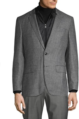 HUGO BOSS Hadwart Quilted-Insert Houndstooth Virgin Wool Sportcoat