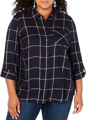 Style&Co. Style & Co. Plus Plus-Size Cotton Plaid Button-Up Shirt