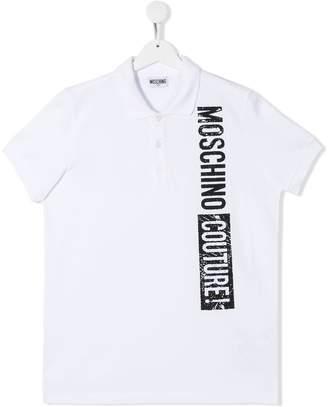 Moschino Kids TEEN logo print polo shirt