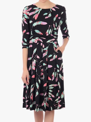 Jolie Moi Three-Quarter Sleeve Print Jersey Midi Dress, Feather Multi