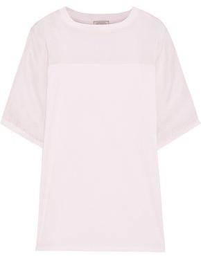 Nina Ricci Metallic Gauze-paneled Cotton-jersey T-shirt