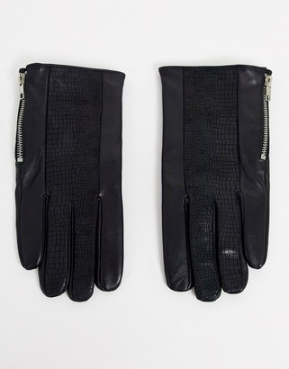ASOS DESIGN leather gloves in black with zip detail