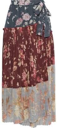 Zimmermann Unbridled Wrap-effect Pleated Floral-print Chiffon Midi Skirt