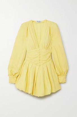 ATTICO Cutout Gathered Georgette Mini Dress - Yellow