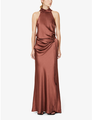 Camilla And Marc Farrell halterneck satin-crepe maxi dress