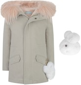 Yves Salomon Silver Grey Cotton Parka With Removabale Fur Lining