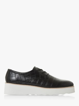 Dune Flight Leather Flatfrom Lace Up Shoes, Black