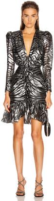 Dundas Long Sleeve Zebra Mini Dress in Black & Silver | FWRD