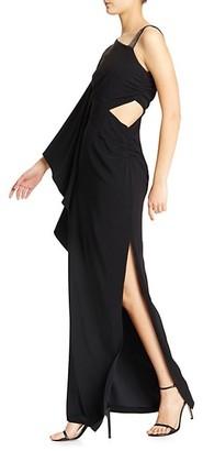Halston Asymmetrical Cutout Gown