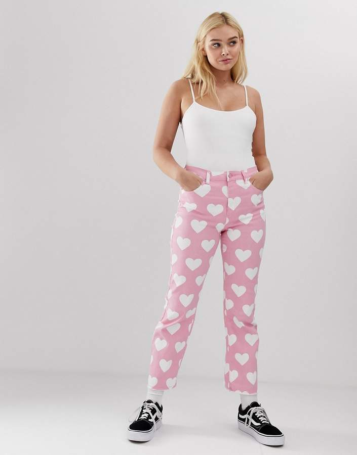 Lazy Oaf mom jeans in heart print