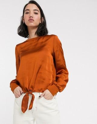 Only Mia long sleeve tie front satin blouse-Orange
