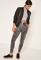 Missguided Grey Acid Wash Zip Detail Joggers