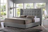 Baxton Studio BBT6386-King-Grey-DE800 (B-62) Favela Linen Modern Bed with Upholstered Headboard, King, Grey