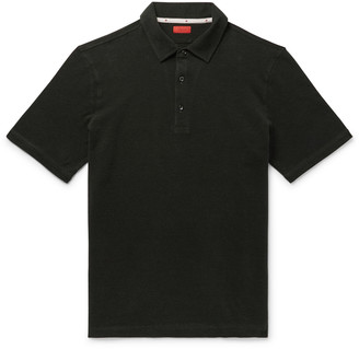Isaia Slim-Fit Melange Cotton-Pique Polo Shirt
