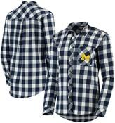 Buffalo David Bitton Unbranded Women's Navy/Cream Michigan Wolverines Plaid Flannel Button-Down Shirt