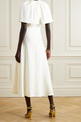 Lela Rose Cape-effect Wool-blend Crepe Midi Dress - Ivory