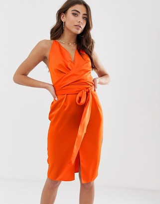ASOS DESIGN cami midi dress with wrap waist in satin