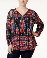 American Rag Trendy Plus Size Printed Peasant Top, Only at Macy's