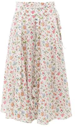 Horror Vacui Sophie Floral-print Cotton Midi Skirt - Womens - White Multi