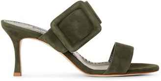 Manolo Blahnik Gable 70 khaki suede sandals