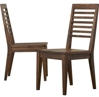 Three Posts Roseboom Solid Wood Ladder Back Dining Chair in Brushed Acacia