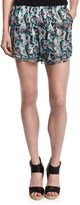 Prabal Gurung Layered-Hem Chiffon Shorts, Turquoise