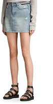 AllSaints Striped-Waistband Denim Skirt