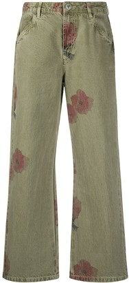 One Teaspoon Faded Crop Floral Trousers