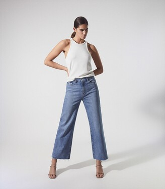 Reiss Anessa - Paige High Rise Wide Leg Jeans in Light Blue
