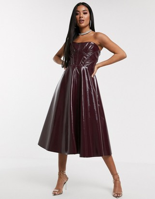 ASOS DESIGN Premium corseted vinyl bandeau midi prom dress